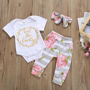 Bebés Meninas Roupas de manga curta letra impressa macacãozinho Tops Calças com alça conjuntos de três peças crianças roupa ocasional Meninas 0-12M 07