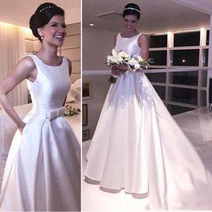 Modest A Line Vestidos de novia con bolsillo Satin Sash Ribbon Drapped Longitud del piso por encargo Vestido De Nova