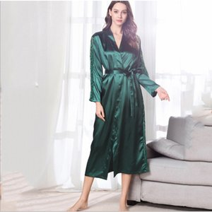 2020 new women silk like pajamas satin robe two pieces sets sexy night gown comfortable breathable pajamas for ladies sleepwear