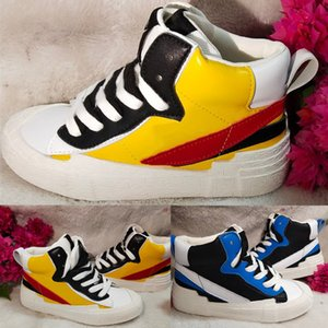 Sacai x nike blazer mid kids الاحذية أحذية رياضية كلاسيكية خفيفة التزلج أحذية الأولاد البنات وحاتي الصغار المدربين