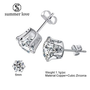 Erkekler ve Kadınlar 3mm-8mm Simüle Diamond Stud Küpe Düğün Kaya Rapçi Takı Hediyesi için Moda Taç Zirkonya Yuvarlak Stud Küpe