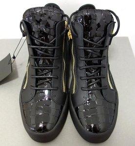 2020 venta caliente jóvenes estudiantes mujeres de los hombres de cuero de alta tapa de metal cremallera zapatillas de deporte al aire libre Caja cordones de los zapatos ocasionales entrenador antideslizante