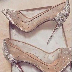 Voir au travers Rouge Bas Talon haut Silver Bling Fashion Design Femmes Pompes d'été Parti strass Heels mariage Stiletto minces