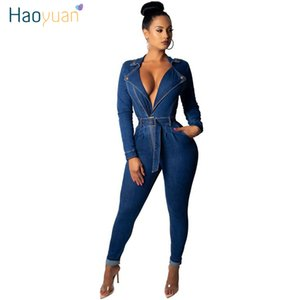 Haoyuan Sexy Denim Jumpsuit alta estiramento roupa Clube Macacões manga comprida BODYCON Jeans Rompers Womens Jumpsuit