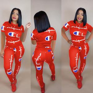 2019 Mulheres Carta Agasalho T-shirt de Manga Curta + calças 2 peças set Verão Outfit Tee Sportswear Marca Corredores S-3XL novo B2282