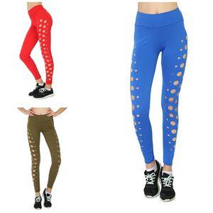 Elastic Cintura Calças Yoga cores puras Calças oco magro treinamento físico Leggings vestuário para senhora mulheres usam 20 pb E19
