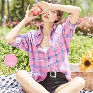 Pure cotton plaid Top Coat women's long sleeve 2020 Summer new lazy shirt top loose coat inch shirt