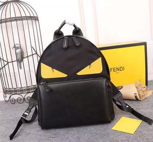 핫 스타일의 검은 색 나일론과 노란색 양각 악마의 눈을 가진 송아지 가죽 가방, 간단한 패션, 글로벌 무료 배달.