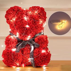 40CM innovador Rose romántica Oso Cub siempre artificiales de Rose Aniversario Regalo de San Valentín de Navidad con luces de Cuerda
