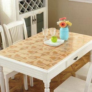 New Arrive Cover 1.00mm Soft Glass Transparent PVC Tablecloth Kitchen Table cloth With Pattern Party Supplies Y200421