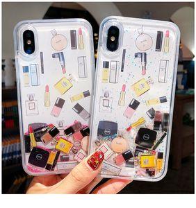 Cosmetic Quicksand Cover Case Pour iPhone 6S 7 8 Plus XS Max XR Dur Rouge À Lèvres Bouteille De Parfum Dynamique liquide Capa Téléphone cas ipone