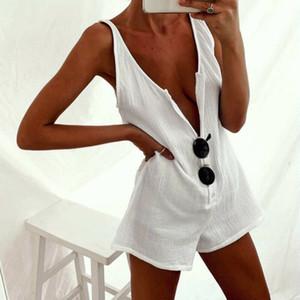 Frauen Sleeveless Weste-Art-Overall Mini Jumpsuit Kleid Sommerferien Shorts Lässige Vintage-Boho lose reine Farben-Kleidung