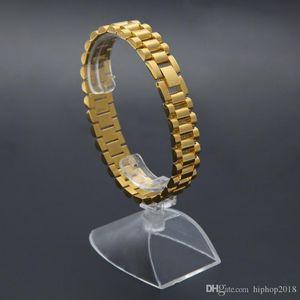 Chapado en oro pulsera de reloj de USpecial Nueva Hombres de acero inoxidable Correa Enlaces del manguito de los brazaletes de la joyería de Hip Hop regalo