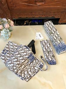Braun, Blau, Rosa Marine-Regenschirm Schmetterlinge und Blumen-nette Frauen-Folding Umbrella-Retro Druck-Mode für Männer und Frauen Luxus Regenschirm