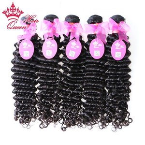 Queen hair products 5 pcs lot Brazilian virgin hair deep wave curly style human hair extenstions 100g pc