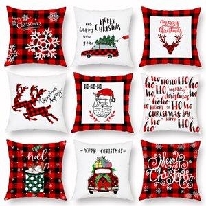 Xmas подушка клетчатая клетчатая клетчатая веселая рождественская подушка охватывает новогодняя елка олень грузовик подушка домашняя вечеринка декоративная 16 стилей WX9-1677