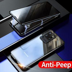 Anti-Peeping Gizlilik Manyetik Adsorpsiyon Ön Arka temperli cam Vaka İçin Samsung Galaxy S20 Ultra Not 10 Artı S10 Artı S10E S9 Note9 S8