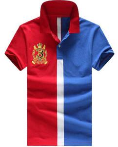 Ralph Moda Listrado Camisas Polo para Homens de Manga Curta de Alta Qualidade de Algodão Big Horse Bordado Clássico Clube de Golfe Polos Vermelho Azul
