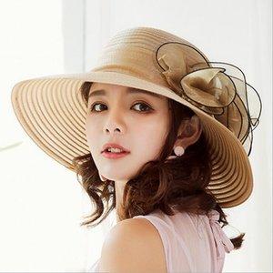 Женщины Винтаж из органзы Sun Hat Цветочные оборками Летняя пляжная шляпа Широкий большой чаепитие на свадьбу Свадебная шапка Sun Hat Sunbonnet