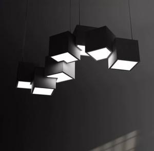 White Cube Preto, Moderno, Metal Acrílico Pendant Light Villa Home Decor Art Lighting Chandelier Fixação PA0638