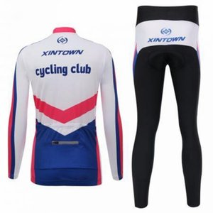 Wholesale-2015 New Women's Cycling Long sleeve Jersey Pants Fleece Thermal Sportswear Set Clothing Bike Bicycle Suits Winter