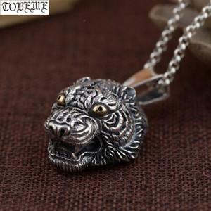 Reale gioielli in argento 925 Handcrafted della tigre Collana capo 925 Potenza Tiger Man Ciondolo Good Luck Punk Pendant