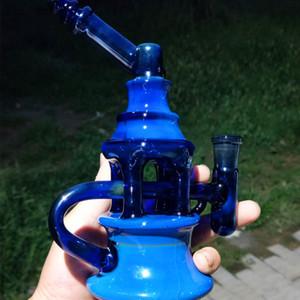 9inch fumé argent Dab huile Rigs verre Bong avec 4MM Quartz Banger Nail recycleur huile barboteur Cyclone Perc verre pipe à eau