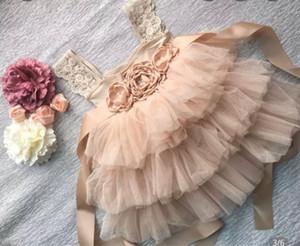 2020 Summer New Baby Girl Flower Princess Dress petites filles Vêtements élégants 3 couches Fil enfants Gâteau Sweet Dress Fashion
