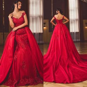 Великолепные красные русалки свадебные платья с съемным поездом с плечами Аппликации Кружева свадебные свадебные платья свадебные платья