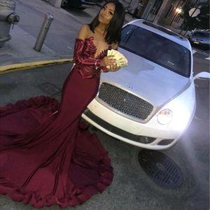 Personalizzato Africano Borgogna Mermaid Prom Dresses 2019 Sparkly Maniche lunghe Pizzo Abiti da sera da sera formale robe de soiree