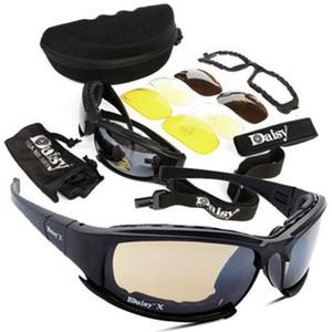 Tactical Daisy Brille Goggles Armee Sonnenbrille mit 4 Objektiv Original Kasten Männer der Frauen Gafas Sonnenbrille taktische Brillen