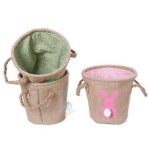 Нести яйца конфеты DIY Кролик мешковина холст Пасхальная корзина Кролик хранения джут Кролик хвост корзины милый мешок Главная инструменты Пасхальный подарок DH0546