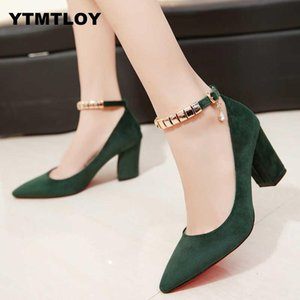 2019 Spring Autumn Women Pumps Sexy buckles High Heels Shoes Fashion Pointed Toe Wedding Party Square Heel String Bead