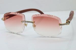 2020 Free Shipping güneş gözlüğü erkek Yeni Mercek Gözlük Ahşap T8200762 Rimless Küçük Büyük Taşlar Güneş Çerçeve Unisex gözlük Oyma