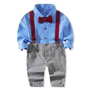 New Spring Autumn Baby Boys Gentleman Clothes Set Kids Bowtie Long Sleeve Shirt + Suspender Pants Boy Children 2pcs Outfits Set 15180