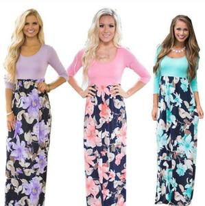 Floral Maxi-Kleid-Frauen-Blumen-beiläufige Kleider Langer O Ausschnitt Vintage-Kleid-Partei Sundress Bodycon Designer dünnes Kleid Kleidung Vestidos C6804