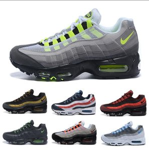 Newest Air Cushion 9s Men Running Shoes Authentic Max 95s Boots Gold Bred Gym Red Laser Fuchsia Gradient Trainer Sports Sneakers without box