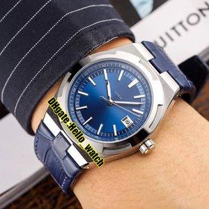 Cheap New Overseas 4500V / 110A-Automatic Orologio da uomo Data Quadrante blu Cassa in acciaio 316L Cinturino in pelle blu da uomo Orologi sportivi Hello_watch 6Colore