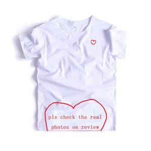 남성 힙합 단색 짧은 소매 여자의 탑 티셔츠에 20 대 T 셔츠 남성 패션 레드 하트 연인 프린트 T 셔츠