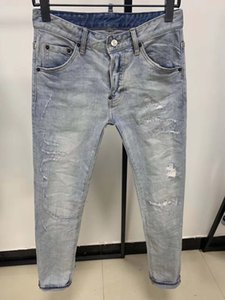 mens denim jeans fashion biker jeans true slim straight washed zipper decorated urban casual style pants