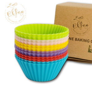 Shipping From US Silicone Baking CupsReusable Cupcake Liners Non-stick Muffin Cups Cake Molds Cupcake Holder 12 Packs in 6 Rainbow Colors