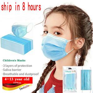 em embalagens de varejo estoque 10pcs 3-12 anos Crianças mascarar grife máscara facial crianças máscara descartável PM2.5 de protecção Boca Dustproof sem válvula