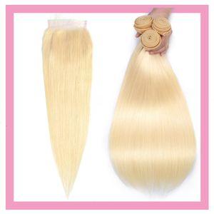 India virgen rubia de pelo humano recto 613 # 3 del color de cabello Extensiones Cierre los paquetes con 4X4 cordón con el bebé 4PCS una serie consecutiva Rubio