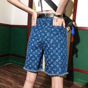 Novas senhoras designer de calções tendência marca novidade denim buraco tecido cortado sob medida macio e confortável tamanho versão solta M-XL casal Shortss