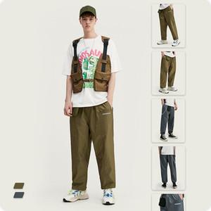 VIMASS 2020 весна лето новая уличная личность светоотражающий английский мульти карманный шнурок мужской тренч пальто повседневные брюки
