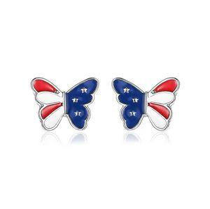 Cute Ear Studs US National Flag , Dragonfly , 3 Stars Charm Stud Earrings Ear Pins For Girls Ladies