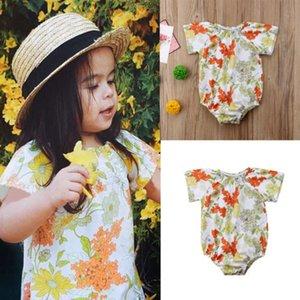 2018 New Summer Baby Girls Floral Romper enfant nouveau-né Bébés filles manches courtes Romper Salopette colorés Jumpsuit Vêtements Outfit