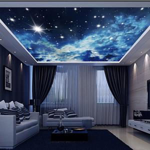 Большой заказ Настенная картина 3d потолка Фрески Обои Blue Sky Stars Universe 3d фото Mural для Hall Room 3d Фрески стены