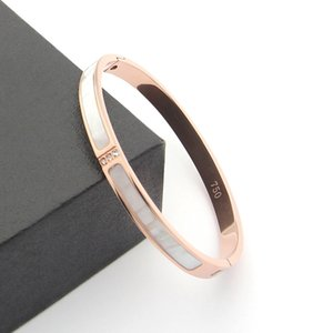 New 2020 women 316L Titanium steel Love bangles Bracelets For Women Men three stones bangle Rose Gold white shell cuff Bracelet