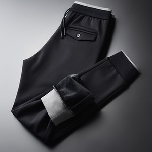 lu Inner Velvet Mens Pants Luxury Elastic Waist Black Thick Male Pants Plus Size 4xl Solid Color Slim Fit Man Trousers